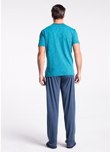 Dagi Gömlek Kısa Kollu Pijama Takımı Petrol